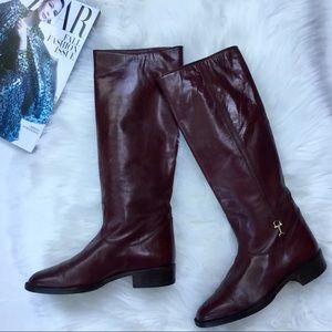 Celine Oxblood Tall Riding Boots Leather 35 Size 5